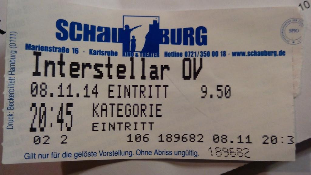 Schauburg ticket interstellar