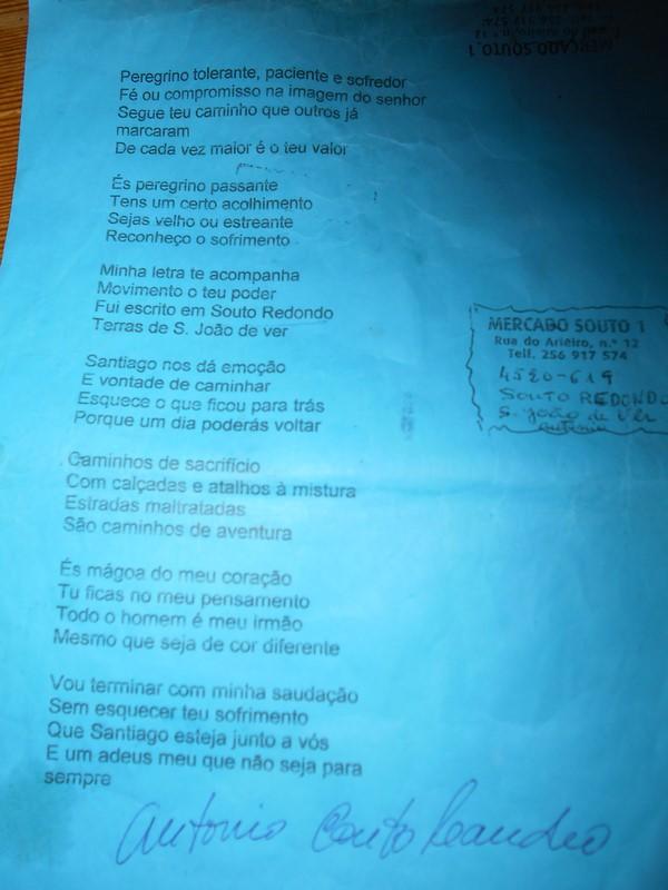poesia del poeta Souto, Cammino di Santiago