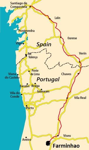 Cammino Portoghese Interiore mappa